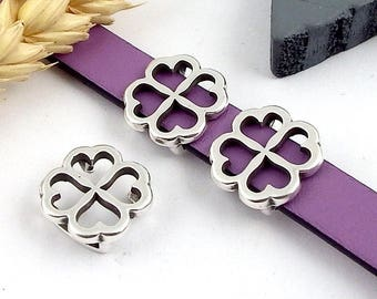 5 Interleave clover four leaves leather 10mm silver plated