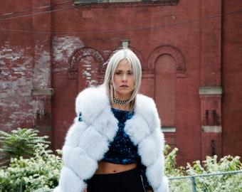 Genuine Fox Fur Vest WHITE