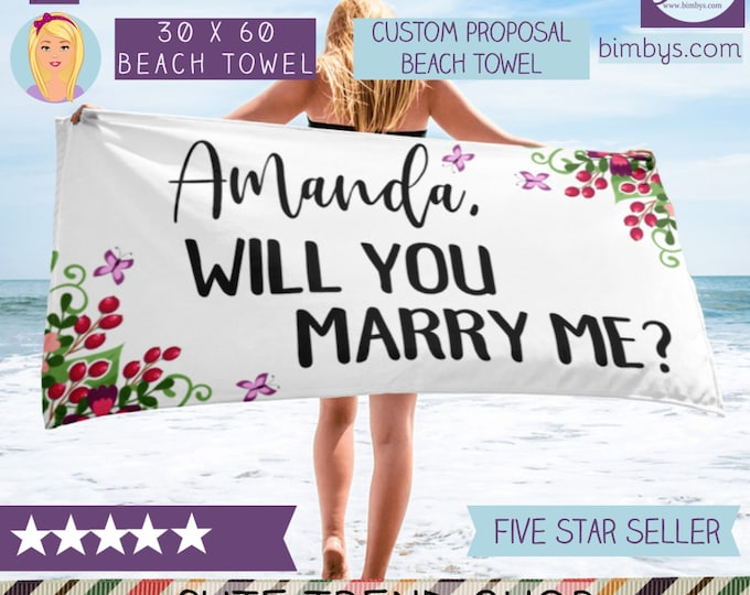 Personalized Towel - Will you marry me? - Custom Proposal Beach Towel - Unique Personalized Beach Towels - Custom Beach Towels - monogram