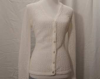 Vintage 70s knit sweater, cardigan, lightweight knit, summer sweater, beach cover up, lady like, open knit, church clothes, white sweater
