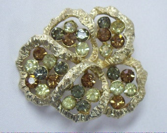 Vintage CORO Autumn Color Rhinestone Leaf Brooch Pin