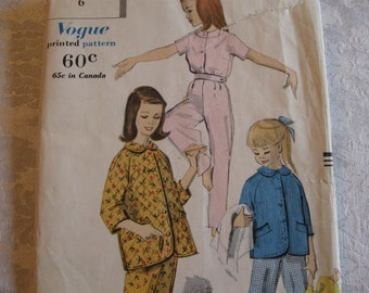 RARE Vintage 50's Vogue 2883 Adorable Girls' Pajamas and Jacket  Size 6  Breast 24