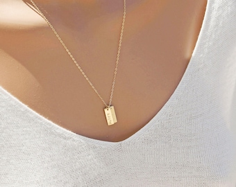 Personalized Bar Necklace, Nameplate Necklace, Mothers Gift, Date Necklace, Zip Code, Monogram Vertical Bar, 14k GF, S/S, Rose Gold