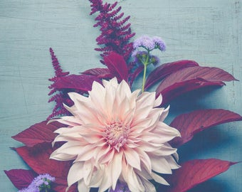 Dahlia Photograph - Rustic Modern Wall Art - Muted Still Life Wall Art - Botanical Wall Art - Flower Art - Floral Decor - Blue Red Pink Art