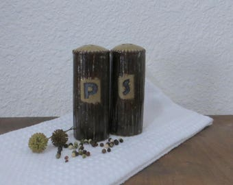 Salt and Pepper Shaker Set - Handmade Stoneware Ceramic Pottery - Burnt Iron Brown and Birch Brown - 4 ounce