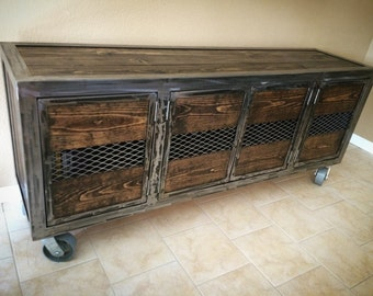 Rustic Industrial Entertainment Center Console