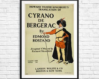 Cyrano de Bergerac, theatre gifts, gifts for actors, gifts for readers, gifts for drama, book cover poster, book posters, library artwork