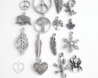 Silver Nature Charms & Symbols: Leaves, Trees, Animals, Feathers, Snowflake Add Ons for Pendants, Peace Signs, Hearts; Create Your Necklace