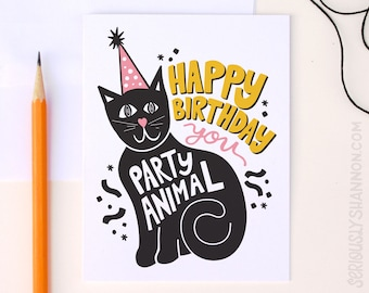 "Cat Card, Cat Birthday Card, Funny Cats Birthday Card, Best friend card, Birthday Card, ""Party Animal"" A2 Cute cat greeting Card"