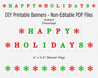 Happy Holidays Banner with Snowflakes - Silver Sparkle, Red & Green - PRINTABLE - INSTANT DOWNLOAD