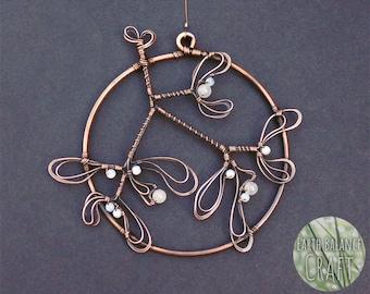 Botanical Mistletoe Hanging Decoration, Yule Gifts, Festive Decor, Mystical, Copper Wire Work, Scared Plant, Sweet Kisses, Christmas Decor