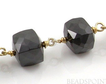 Natural Black Spinel Designer Cube Chain, 5-6mm Cubes w/ 24k Gold Vermeil chain, Priced & Sold by the Foot.(GMB-BSP03)