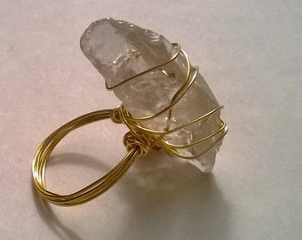 Gold Wire-wrapped Quartz Ring