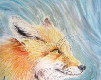 Red fox scarf - Hand painted silk scarf unique  - Animal silk scarf teal - Orange foxes silk painting - Foxes lovers gift - Fox wearable art