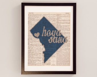 Georgetown University Dictionary Print - Washington DC Art - Print on Vintage Dictionary Paper - I Heart Georgetown - Hoya Saxa