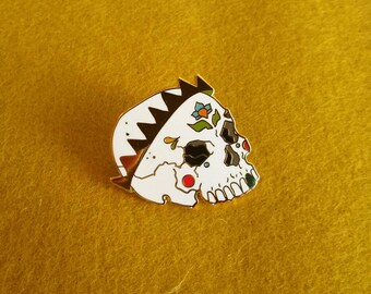 Skull with Gold Crown hard enamel pin, skull pin, enamel pins, brooch, lapel pin for denim jacket, bag, hat pin, stocking stuffer, christmas