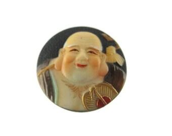 Toshikane HOTEI Button/ 7 Fortune gods Arita Porcelain /Seven Lucky gods 七福神 Shichi Fukujin / Seven Immortal gods / Feng Shui Happiness