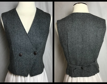 Grey Herringbone Wool Vest in Two Button Double Breasted Style with Fixed Back Belt - Size 9