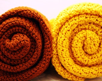 Crochet Lap Blanket - Retro Brown or Mustard Yellow