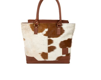 Leather Tote Handbag in Brown & White Animal Print Pony Hair with Brown Full Grain Detailing by MAHI Leather