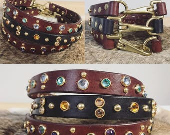 Leather Tag Collar with Swarovski Gems and brass hardware Customization Available