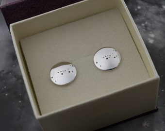 Silver Taurus earrings: Sterling silver earrings showing the constellation of Taurus.
