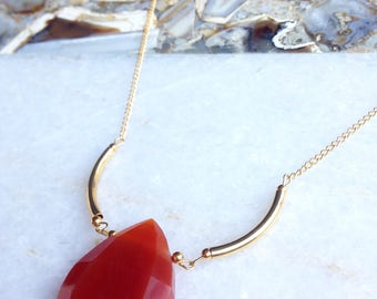 Carnelian gold plated necklace