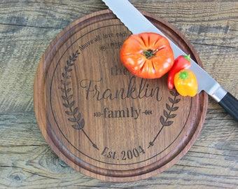 Personalized Cutting Board, Round Wood Cutting Board, Cheese Board, Wood Serving Tray, Cutting Board, Bread Board, Kitchen Board,