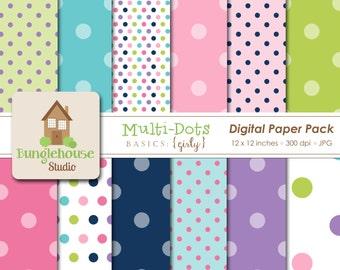 Multi Dots Polka Dot Digital Paper Pack | Instant Download | Digital Scrapbooking Basics | Girly Paper Pack