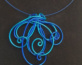Wire loops and Swirls  Necklace