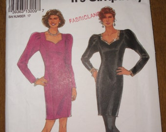 "Simplicity Pattern 8075  - ""It's So Easy"" pattern.  Classic style princess seamed slim dress sweetheart neckline  Size 6 - 16"