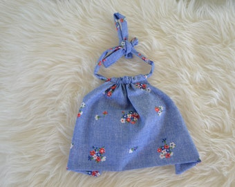 Little Stevie halter top, crop top, toddler girl, baby girl, boho, small batch, ready to ship, floral, chambray, vintage, festival, upcycle