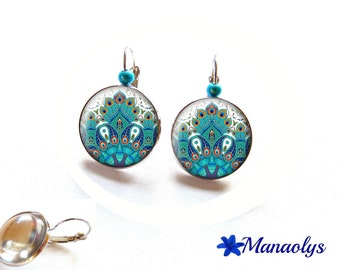 Stud Earrings peacock feathers, 3376 glass cabochons