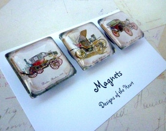 Square Glass Magnet set - Vintage cars