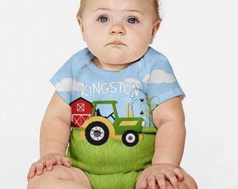 Farm Baby Outfit, Personalized Green Tractor Boy's Snap-Shirt, Custom Baby Boy Clothing