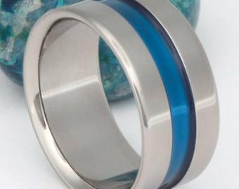 Blue Titanium Wedding Band - Law Enforcement Gift or retirement Present - Handcrafted Thin Blue Line Titanium Ring -
