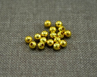 Gold Plated Spacer Beads, 4mm Round, 30 grams, 320 Beads, Findings, Metal Beads