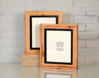 """8x10"""" Reclaimed Pine Frame Build Up with SOLID Inner Color of YOUR CHOICE - Rustic Wooden Frame - 8x10 Photo Frame"""