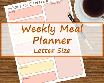Red and Orange Weekly Meal Planner