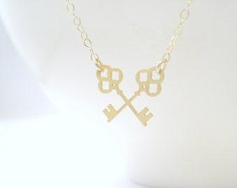 Crossed Skeleton Key Necklace, Key Necklace, Crossed Key, Skeleton Key Charm