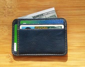 ShamrockWallets- Navy Blue Minimalist Leather Wallet