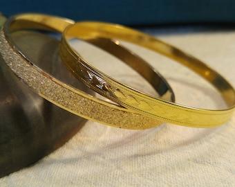 Two Vintage Gold-tone Bangle Bracelets – 70s Bracelets – Monet Jewelry- Hearts- Valentine's Day- 70s Glam- Retro Bangles- Stacking Bracelets