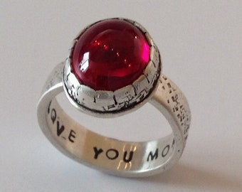 Rings for women, silver rings for women, Ruby Ring - SilverBand – July Birthstone Ring