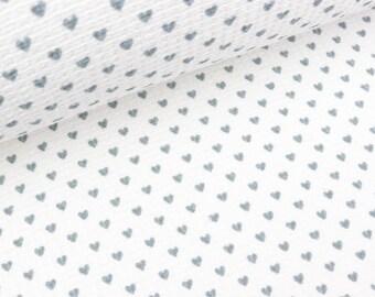 Waffelpiqué Small Hearts Light grey on white (14.90 EUR/meter)