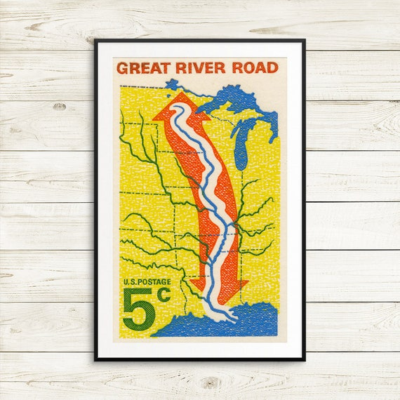 Large vintage Mississippi posters Mississippi River art