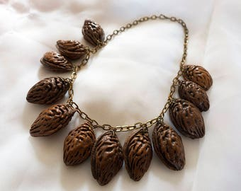 1940s Necklace, Peach Pits, Unusual Jewelry, 1940s Jewelry, Possibly Bakelite