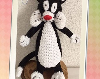 The cat, Trickster, kids baby, handmade, crocheted at home,
