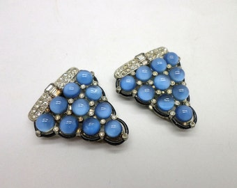 Slightly Shabby Vintage Rhinestone Moonglow Art Deco Style Dress Clips Great to Repurpose