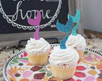 Mermaid Tail Cupcake Toppers, Mermaid Birthday Cupcake Toppers, Mermaid Birthday Party, Mermaid Birthday Decorations