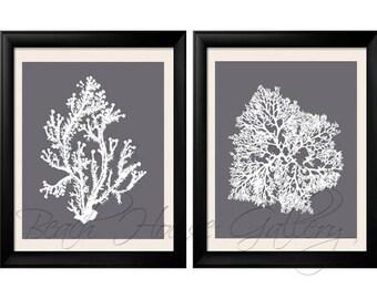 Gray Coral Wall Art, Cool Grey Coral Print, Grey White Wall Art, Gray Home Decor, Coral Print, Set of Two Prints, Custom Colors